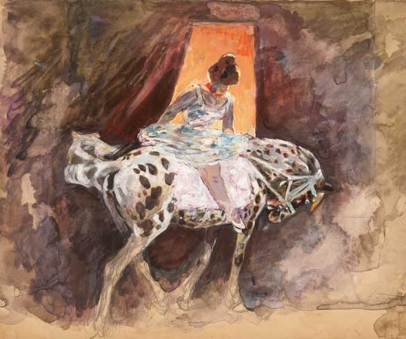 N.Pirogova. Circus Rider. 1900's. Water color, oil, lacquer, graphite pencil on cardboard. Russian Museum.