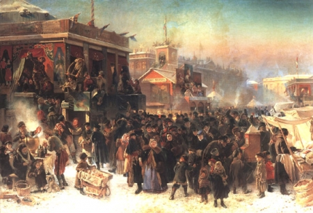 Makovsky K. Public Fete During Shrovetide on Admiralty Square in Saint-Petersburg. 1869. Oil on canvas. 215х321