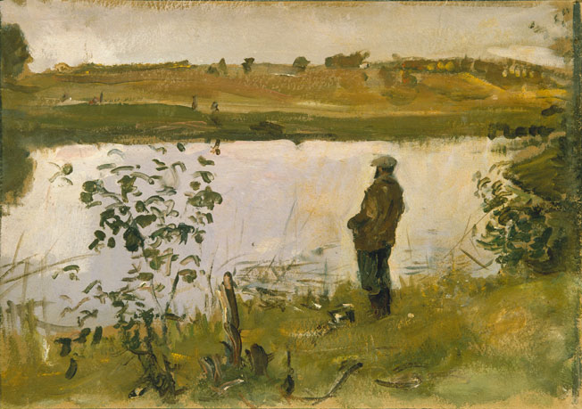 THE ARTIST KONSTANTIN KOROVIN ON THE RIVER BANK. 1905. Oil on cardboard. 36.1 x 51. State Russian Museum