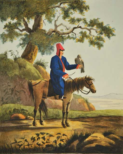 Kirgiz with a Falcon. 1806–1808. Water color, Indian ink, quill and lacquer on paper. 52,7 х 36,5