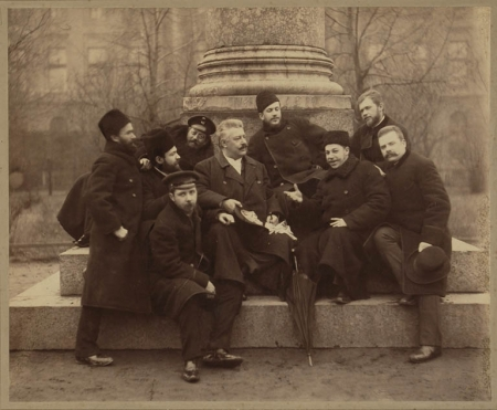 M. Mikeshin (in the centre) and a Group of Artists in the Garden of the Imperial Academy of Arts. Photograph by A. Kashchenko.1888. Albumen print. Image: 22.9 х 28, sheet: 34.3 х 39.5