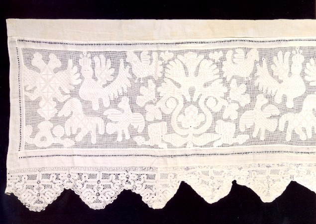 Trimming. Fragment. The end of 18th – Beginning of 19th century. Vologda Province. Veliky Ustyug. Flax, embroidery, lace. 56х187