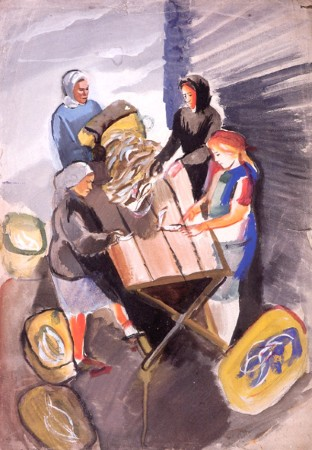 G. Traugot. Dressing Fish Teriberka. 1933. Watercolor on paper.63x44