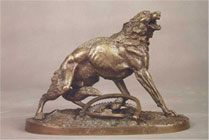 N.Lieberich. Wolf Caught in a Steel Trap. Modello. 1861. Bronze.
