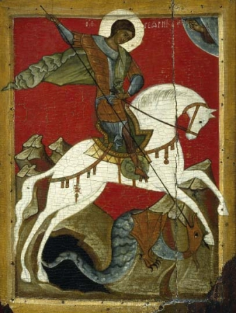 Icon. Miracle of St. George and the Dragon. Second quarter of 15th c. Novgorod. Wood(two boards, two single-end dowels), tempera. 58.5х42х3