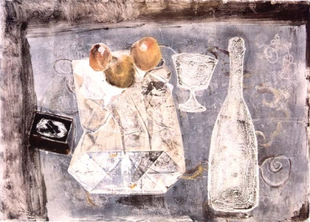 Valentin Levitin. Still-Life. 1969. Monotype on paper. Image: 28.8 x 40.2; sheet: 32.8 x 43.7