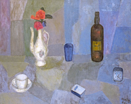 Still life with a Red Rose. 1969. Oil on canvas. 74 х 100. Private collection.