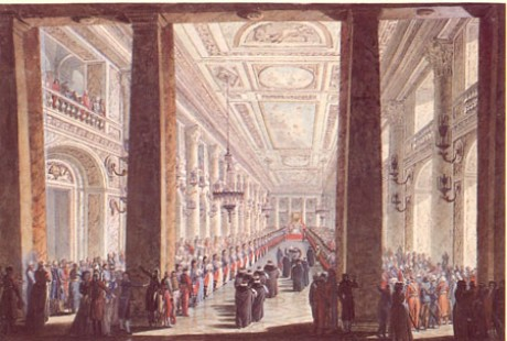 A. N. Voronikhin. The Catherina the Great's Reception of the Turkish Embassy in the Great Hall of the Winter Palace. 1793. Watercolors, gouache, Indian ink, quill on paper 34,2 х 50,2