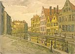 A. P. Ostroumova-Lebedeva. Belgium. Brugge. 1913. Paper on cardboard, water-colors, coal. 36.5x50.7