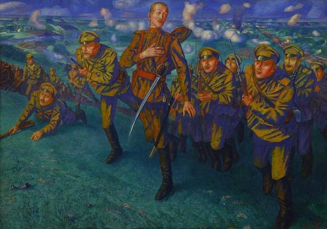 K.Petrov-Vodkin. On the Firing Line. 1916. Oil on canvas. 196 x 275.