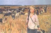 A.Plastov. Vitya the Shepherd Boy. 1951. Oil on canvas. Russian Museum