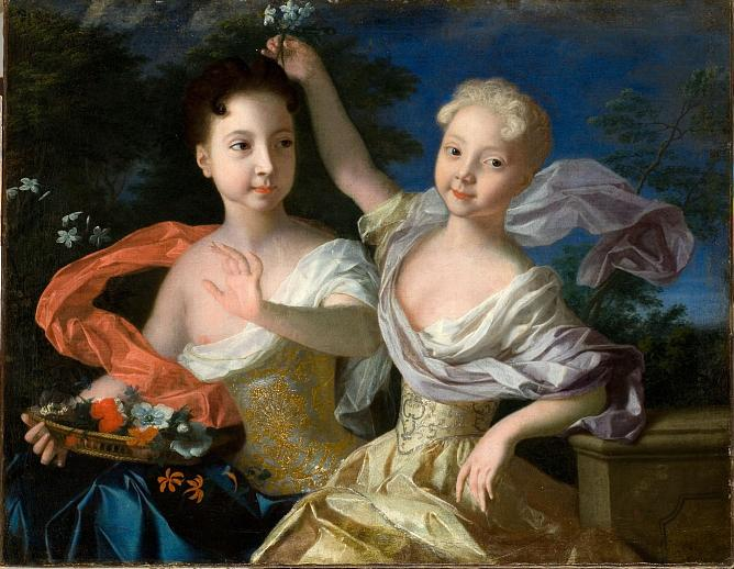 Louis Caravaque. Portrait of the Tsarevna Anne Petrovna and the Tsarevna Elizabeth Petrovna. 1717. Oil on canvas.