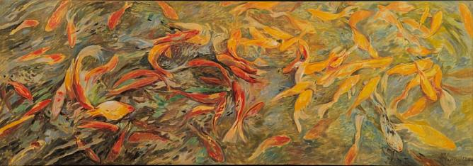 Red and golden. Pastel on canvas. 70x200. 2014.
