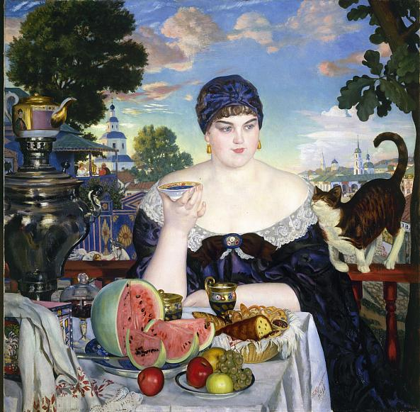 Boris Kustodiev. A Merchant's Wife at Tea