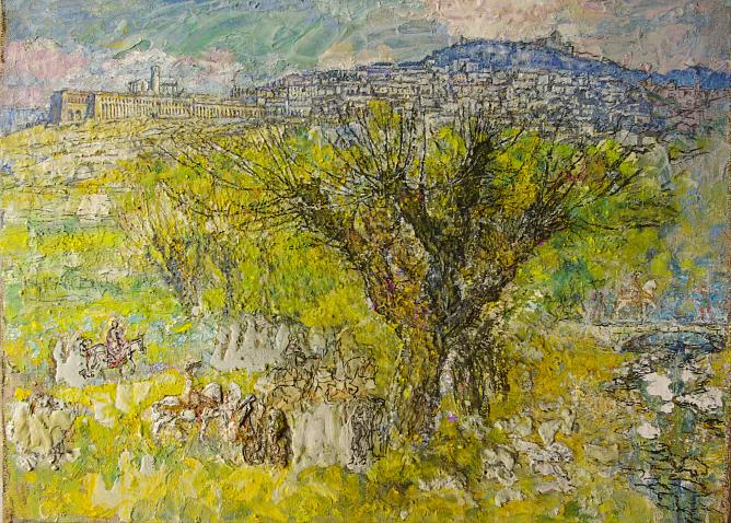 Spring in Assisi. 2000. Oil on canvas. 92x120.