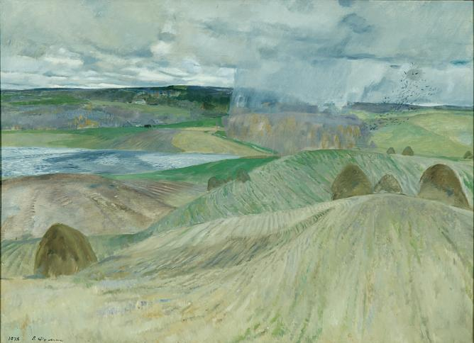 P. Fomin. The fields have been harvested. 1978. Oil on canvas. 90 х 120. The State Russian Museum