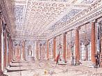 A. N. Voronikhin. The View of the Ceremonial Dining-Room (Corner Hall) in the Stroganov's Palace. 1793. Watercolors, gouache, Indian ink, quill on paper 19,9 х 26,1