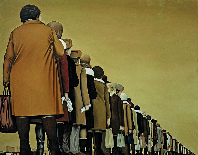 Aleksey Sundukov. Queue. 1986. Oil on canvas
