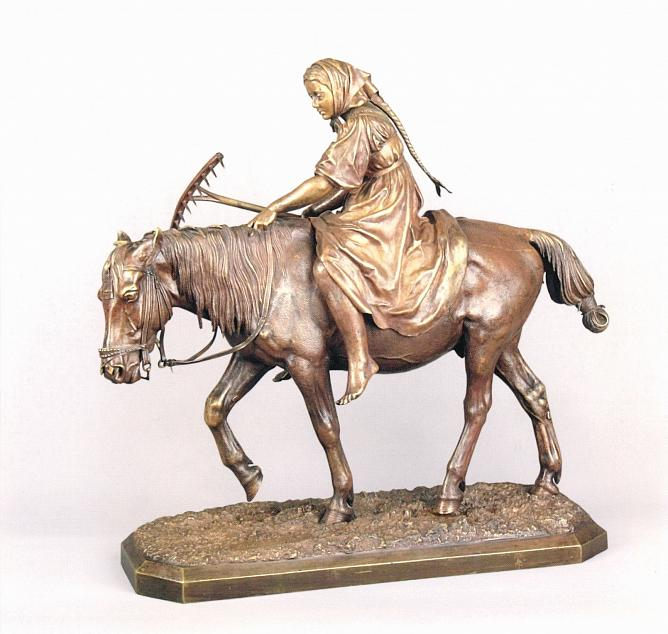 Nikolay Liberikh. Girl with Rakes on Horseback. 1862. Cast 1870s. Bronze. 42 х 44 х 16,3. Alexey Yegorov Collection, Moscow