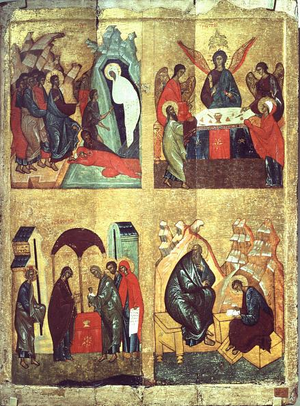 Four-parts icon. The Raising of Lazarus, The Old Testament Trinity, The Purification, STS John the Theologian and Prochorus