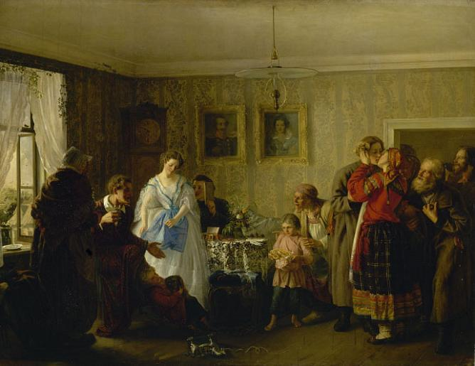 G.Myasoedov. The Congratulation of Newly Married Couple in the house of Landowner. 1861. Oil on canvas.