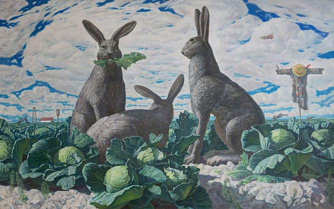 Dmitry Loktionov. Hares and Cabbage. Apprehension of the Civil War. 2015 Oil on canvas. 45 Tavricheskaya Painting Gallery