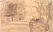 "B. Grigoryev. Village Street. 1917. From the ""Rasseya"" (""Russia"") Cycle. 21.5x34.7"