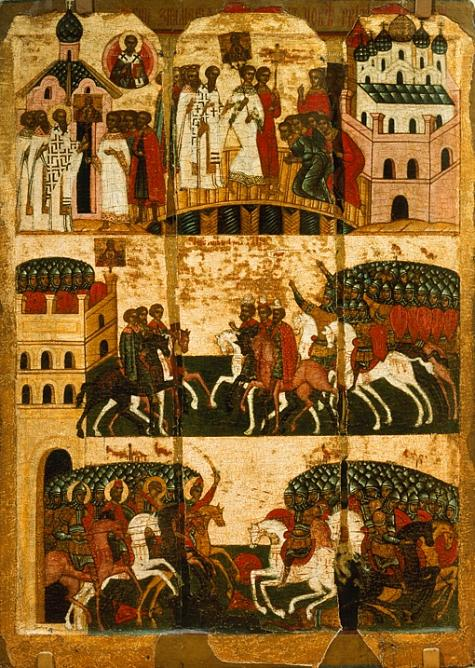 The miracle of the icon «Our Lady of the Sign» (Battle between warriors of Novgorod and Suzdal). Late XV century. Novgorod. Tempera on wood, gilding.