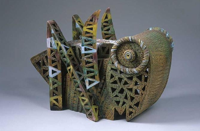 I.Tarasyuk. Grasshopper. 2003. Chamotte, enamel and glazes. Property of the artist.