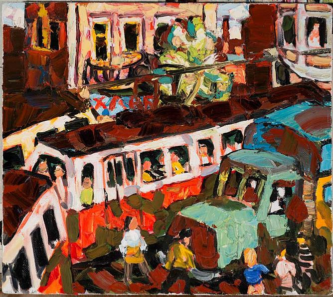 Red Tram. 1996. Oil on canvas. Property of author.
