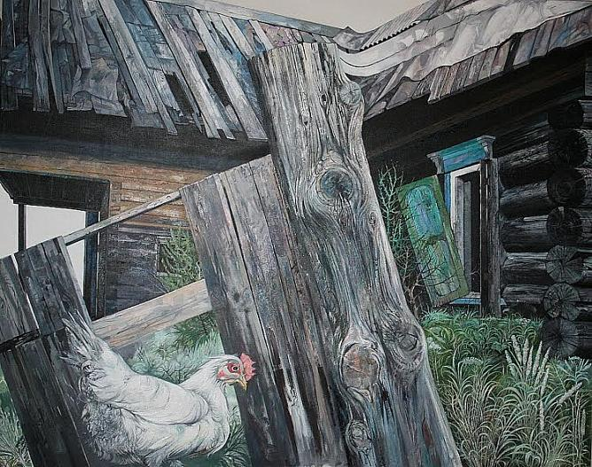 Homeless Hen. 2012. Oil on canvas.