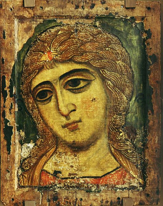 Icon. Angel with Golden Hair. Late 12th Century. Tempera on Wood.