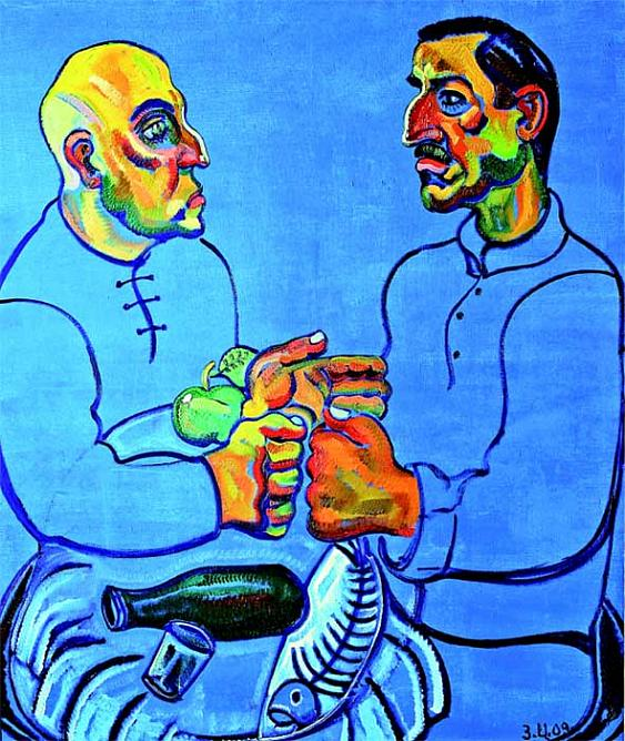 Fishermen Vazha and Vlad. 2009. Oil on canvas. 190 x 160