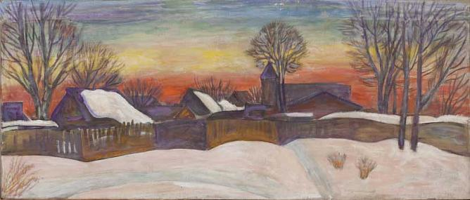 Winter Evening. 2003 Tempera on canvas. 2003. 55 х 130