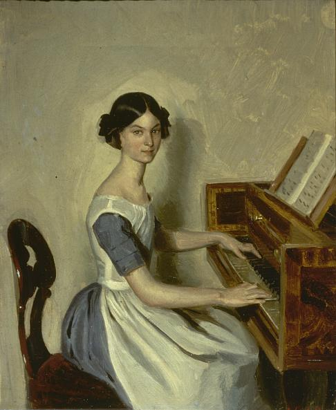 Pavel Fedotov. Portrait on Nadezhda Zhdanovich Playing the Piano