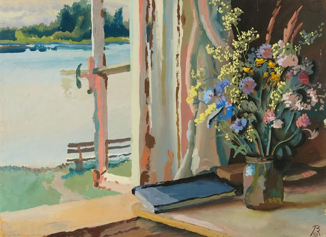 V. M. Konashevich. Bouquet by the window. 1950. Gouache on paper. 46,2 х 62,5. State Russian Museum