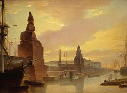 Maxim Vorobyov. The Neva Embankment at the Imperial Academy of Arts. A View of the Wharf with Egyptian Sphinxes  by Day