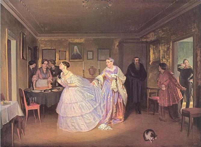 The Mayor's marriage proposal (Bride-show in a Merchant's House). 1850-1852. Oil on canvas. State Russian Museum. Variant of the painting (dated 1848) from the collection of State Tretyakov Gallery.