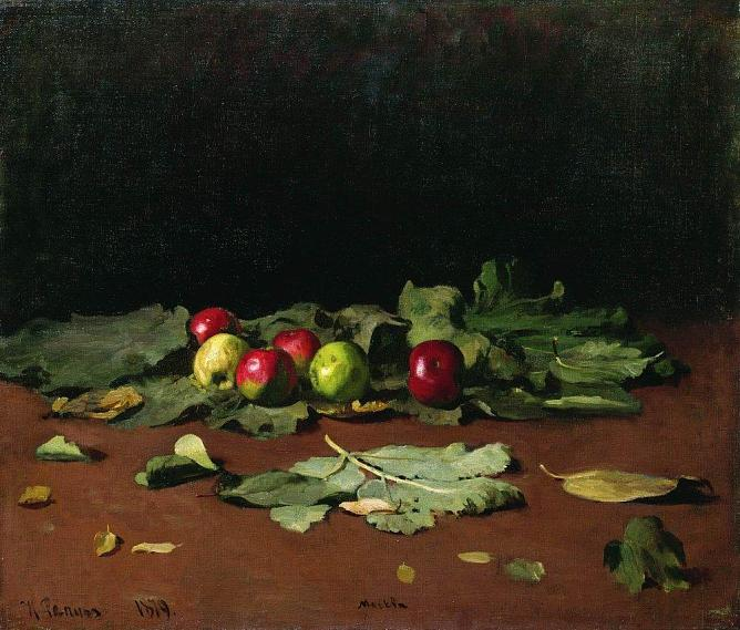 Ilya Repin. Apples and Leaves. 1879. Oil on canvas. 75,5 х 64. State Russian Museum