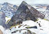 Snow and Gully, Winter Scene from Þingvellir. 1954 Oil on linen. Reykjavík Art Museum