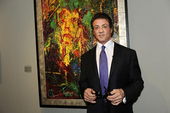 Sylvester Stallone at the Galerie Gmurzynska Booth at Art Basel Miami Beach. 2009 (Photo by Joe Schildhorn / BFAnyc.com)