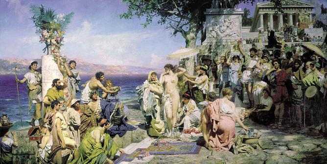 H. Siemiradzki. Phryne on the Poseidon's celebration in Eleusis. 1889. Oil on canvas. The State Russian Museum