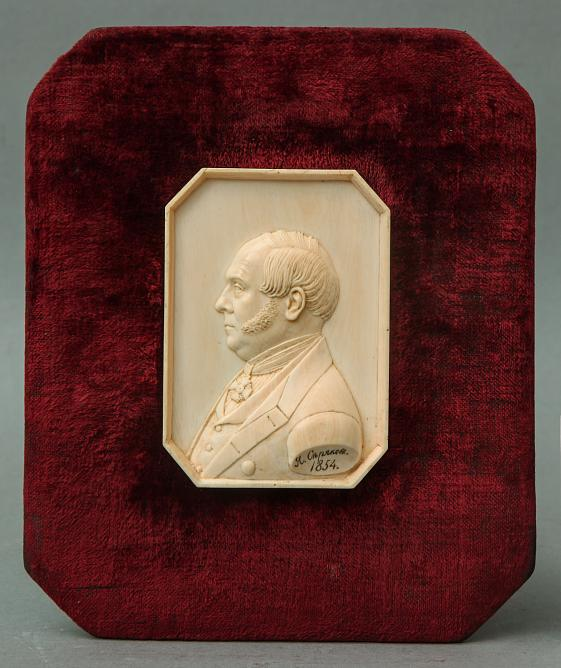 Yakov Seryakov. Portrait of a man with the Order of St. Anna. 1854. Bas-relief. Bone