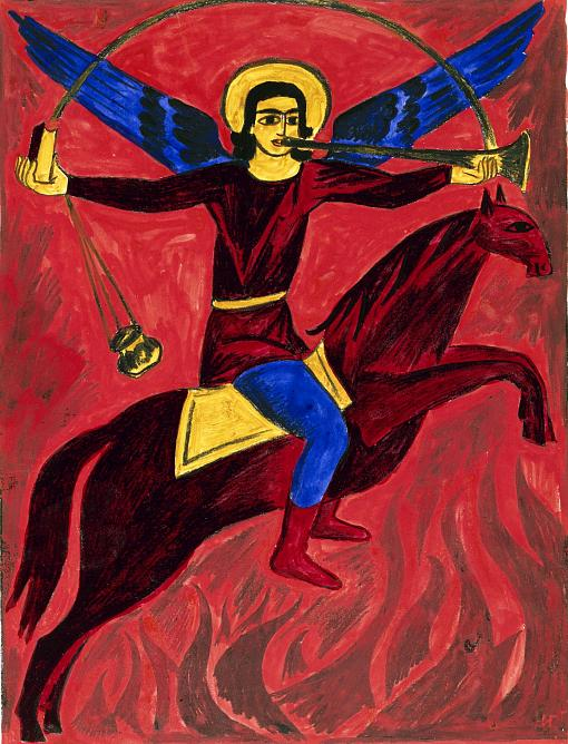 Natalia Goncharova. Archangel Michael. 1914. Colored lithograph