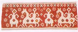 Towel tail. Late 19th century. Kaluga Province. Flax, paper. 37 x 15. Collection of I. Sviontkovskaya-Voronova