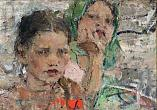 Nikolai Feshin. Two Girls. 1920's. Oil on canvas. 29,5×37.