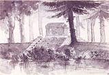 "A. N. Voronikhin. The Antic Sarcophagus (the so-called Homer's Sepulchre). 1794. From the series ""The Viewes of the Stroganov's Dacha (Mandurova's Myiza) "". Indian ink, quill, brush on paper. 25,3 х 36,9."
