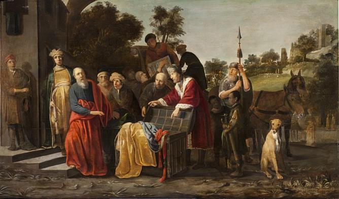 Klaes Corneliszoon Moeyaert. Elisha the Prophet and Naaman. 1630's. Oil on wood. Netherlands.