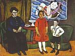 P.Konchalovsky. A Family Portrait (Against the Background of a Chinese Panel). 1911. Oil on canvas.