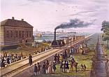 F.Martens. The Ceremonial Opening of the Tzarskoye Selo Railway. 30 October 1837. After 1837. Painted aquatint. 15.7 х 22.6.